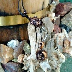 Other - Tortoise necklace & sea turtle keychain set